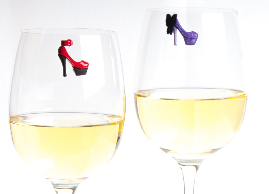 heels magnetic wine glass charms