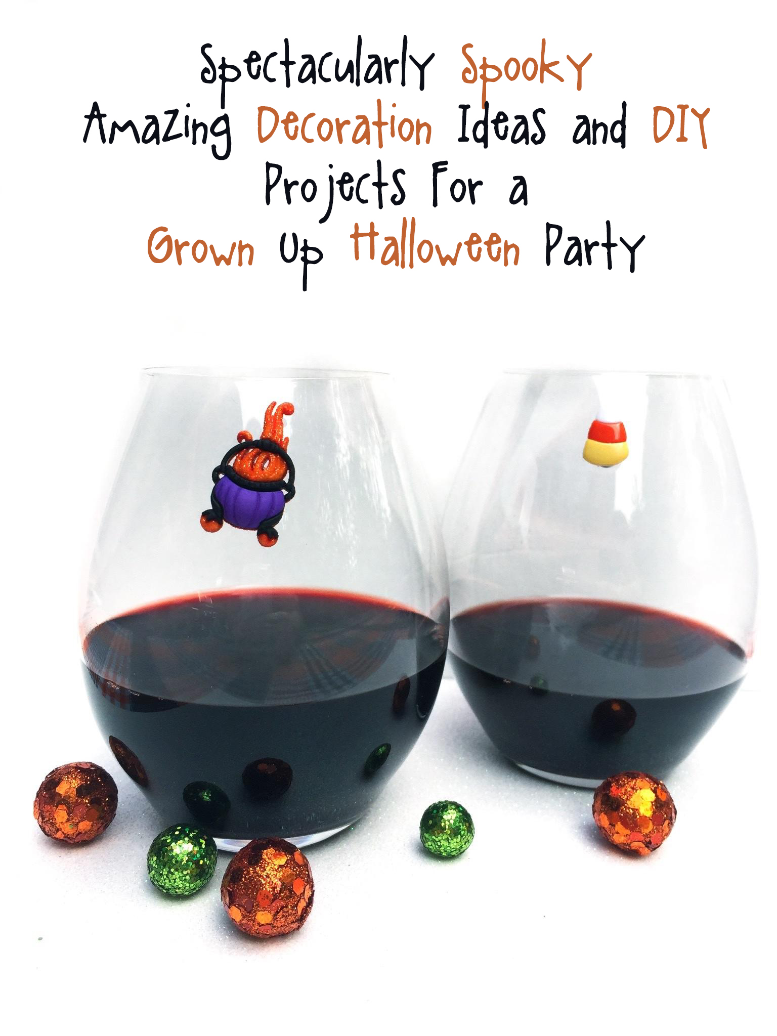 halloween wine glass charms