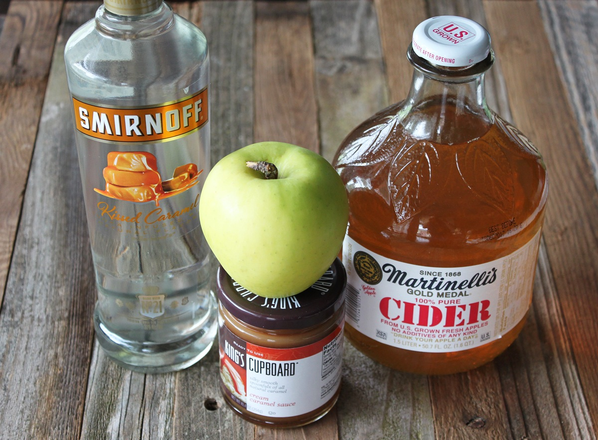 ingredients for caramel apple martini