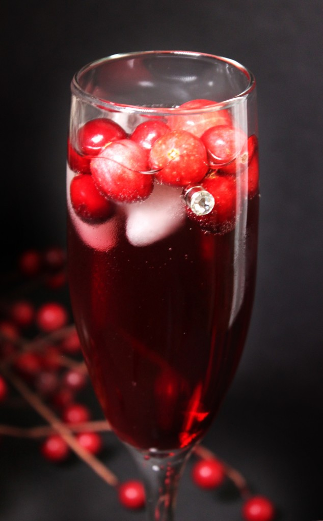 Cranberry chamagne cocktail magnetic wine charm