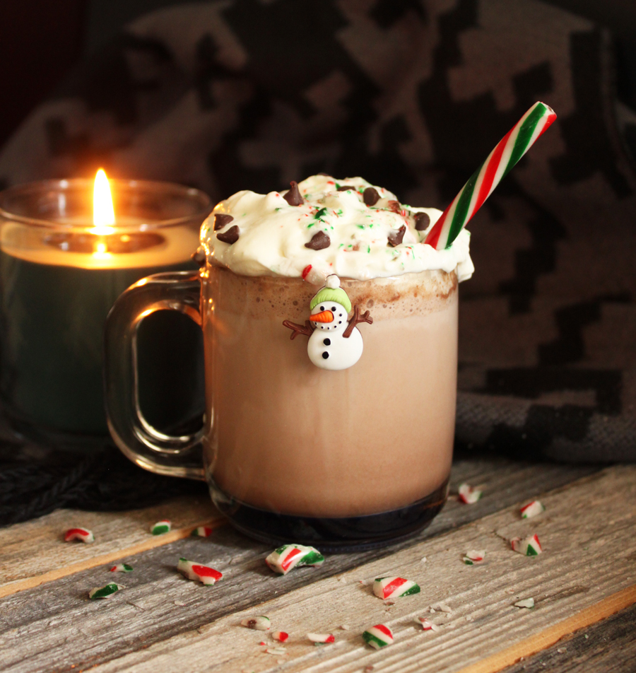 hot chocolate snowman wine charm